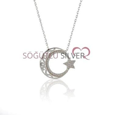 Söğütlü Silver Ayyıldız Kolye Renkli